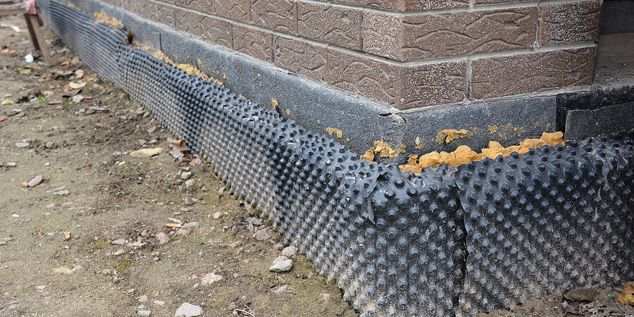 house basement, foundation insulation details with waterproofing membrane